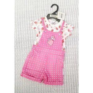 pink dungaree shorts