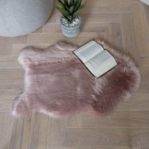 Faux Sheepskin Rug Pink