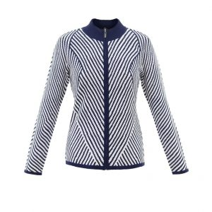 Marble Striped Cardi Navy & White