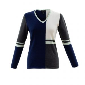Marble Mint and Navy Knitwear Jumper