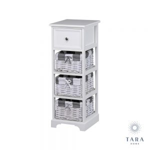 Boston 1 drawer 3 basket storage unit white