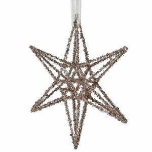 Gold glitter star hanging decoration
