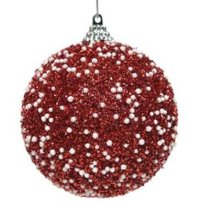 Red Glitter Bauble with White Beads