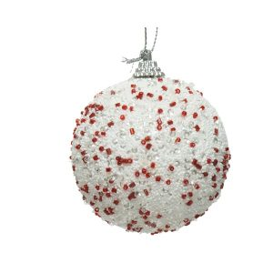 White Glitter Bauble with Red Beads