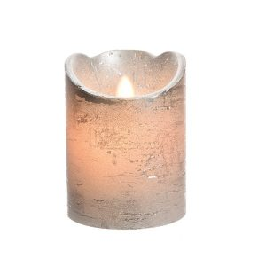 Battery Operated candle silver Small