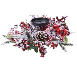 Frosted Red Berry Candleholder