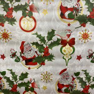 Santa and Holly Christmas Tablecloth