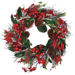Antler Berry Cone Wreath