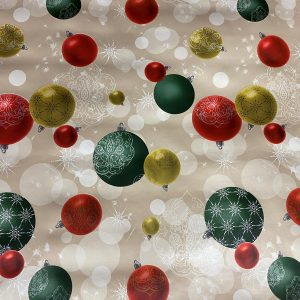 Christmas Table Oil Cloth Baubles