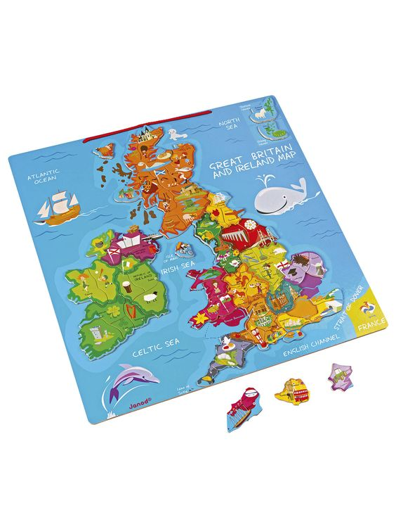 Janod Great Britain And Ireland Wooden Magnetic Map Jigsaw Puzzle, 80 Pieces