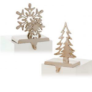 Silver Stocking Hanger Star & Tree
