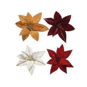 Clip On Velvet Poinsettia 4 Colours