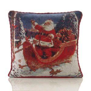 Santa Sleigh Tapestry Cushion Cover