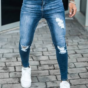 Sinners Attire Rip and Repair Jeans Dark Blue