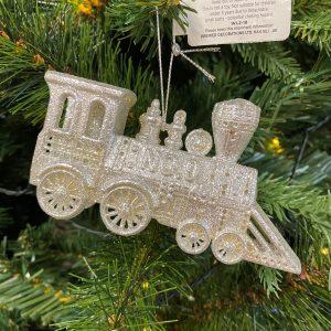 Silver Glitter Train Decoration