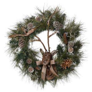 Reindeer Pine Cone Wreath